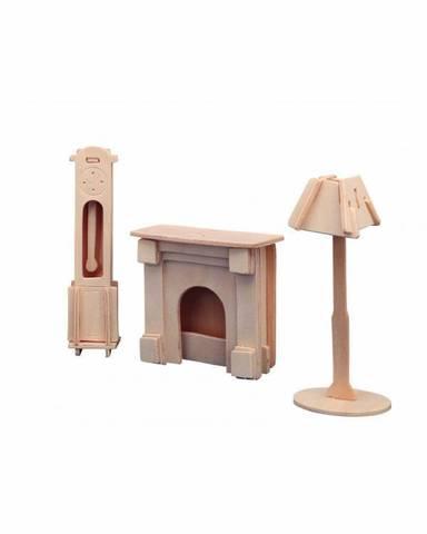 Сборная деревянная модель каминная комната арт.P009