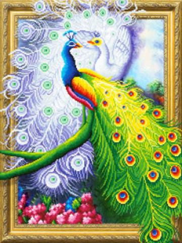 Алмазная Мозаика 5D 40x50 Разноцветные павлины
