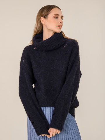 Женский свитер темно-синего цвета из шерсти - фото 2