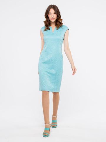 Фото бирюзовое платье без рукавов с фактурным рисунком - Платье З905-767 (1)