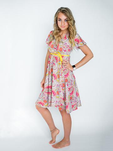 Платье с запахом (мятно-ягодное)