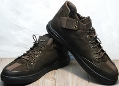 Туфли кроссовки без шнуровки мужские осенние Luciano Bellini 71748 Brown