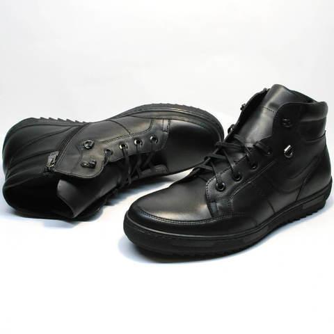 Зимние ботинки кеды с мехом мужские. Теплые зимние ботинки в спортивном стиле Ikoc Sport Black