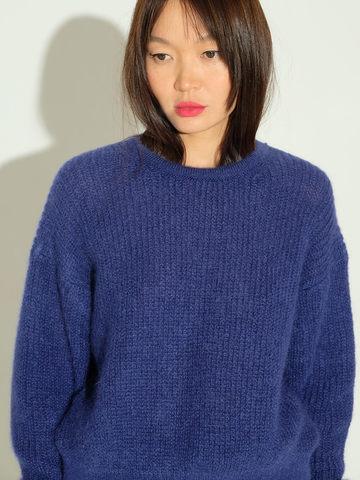 Женский джемпер темно-синего цвета из мохера и шерсти - фото 3