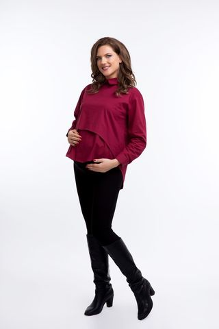Рубашка для беременных 08922 бордовый