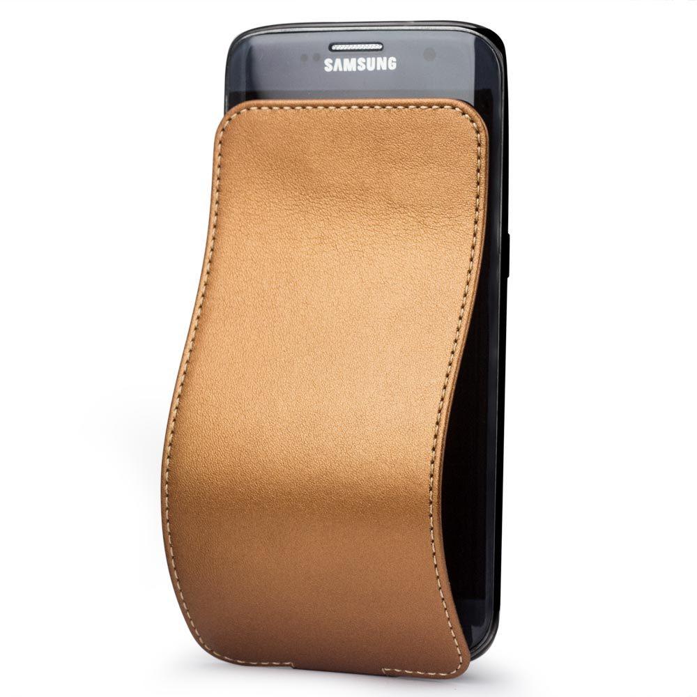 Чехол для Samsung Galaxy S7 edge из натуральной кожи теленка, медного цвета
