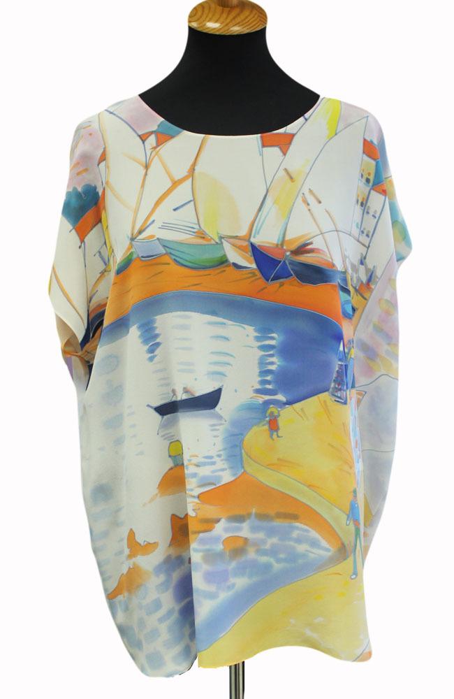 Шелковая блузка батик Лодочка П-182