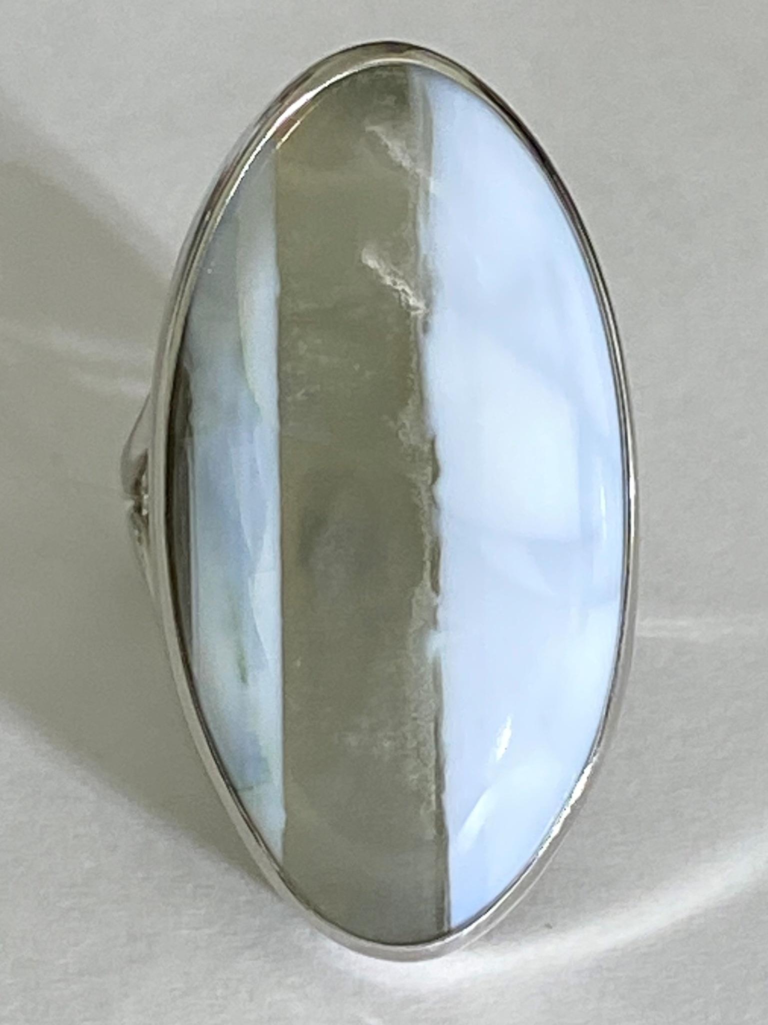 Опал овал (кольцо из серебра)