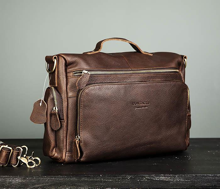 BAG466-2 Мужской портфель из натуральной кожи с ремнем