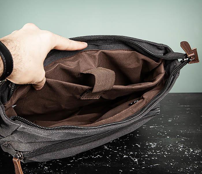BAG504-1 Удобная городская сумка портфель из ткани серого цвета фото 12