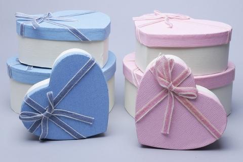Коробка Сердце набор из 3 шт 22х20х9 см, цвет: микс розовый/голубой
