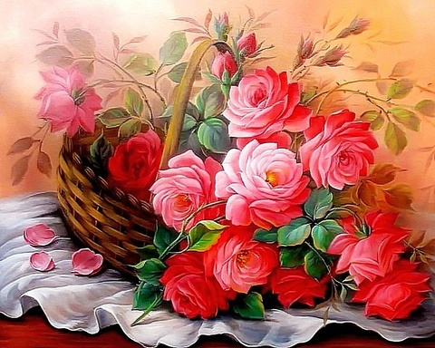 Алмазная Мозаика 30x40 Букет розовых роз лежит в корзине (арт. B2141)