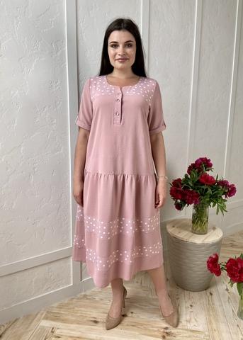 Любава. Романтична комбінована сукня великих розмірів. Пудра