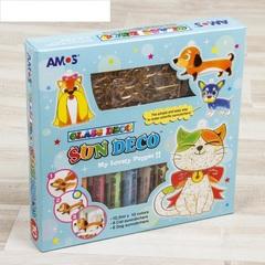 """Набор витражных красок с витражами """"Собаки и кошки"""": 10 цветов по 10,5 мл, 12 витражей"""