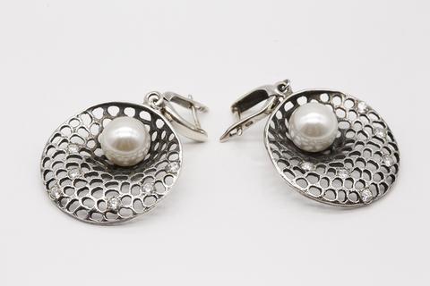 Серьги из серебра с жемчугом С1602004573 Армения