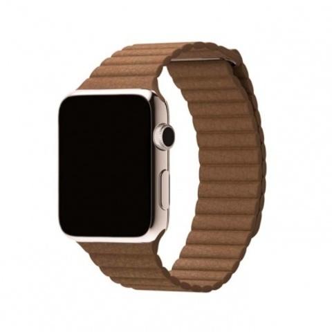 Ремешок кожаный COTEetCI W7 Leather Magnet Band (WH5206-BK) для Apple Watch 44мм/ 42мм  Светло-коричневый