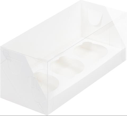 Коробка на 3 капкейка ПРЕМИУМ (пластиковая крышка) 240*100*100