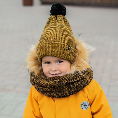 Winter hat with double lapel and drawstrings - Mustard-and-Black Melange