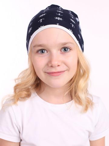 Детская шапочка бини с принтом Якоря на темно-синем фоне