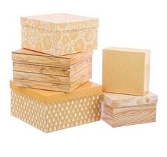 Набор подарочных коробок 5 в 1 «Крафт», 14х14х8; 16х16х9; 18х18х10; 20х20х11; 22х22х12 см, 3580128