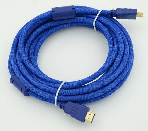 Кабель HDMI (m)/HDMI (m) 5м. феррит.кольца Позолоченные контакты синий
