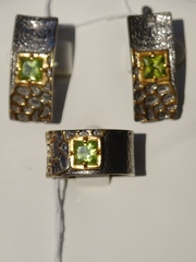 Тиара (кольцо + серьги из серебра)