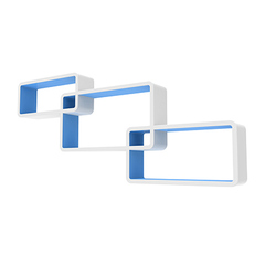 Комплект полок «Нью-Йорк», левый, белый/голубой, 3 полки