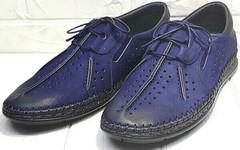 Мужские синие мокасины туфли мужские летние стиль smart casual Luciano Bellini 91268-S-321 Black Blue.