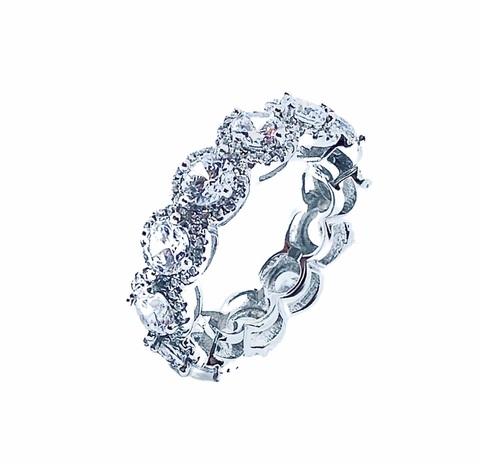 47836- Кольцо-дорожка  из серебра с цирконами