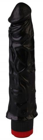 Черный реалистичный вибромассажер №9 - 19,5 см.