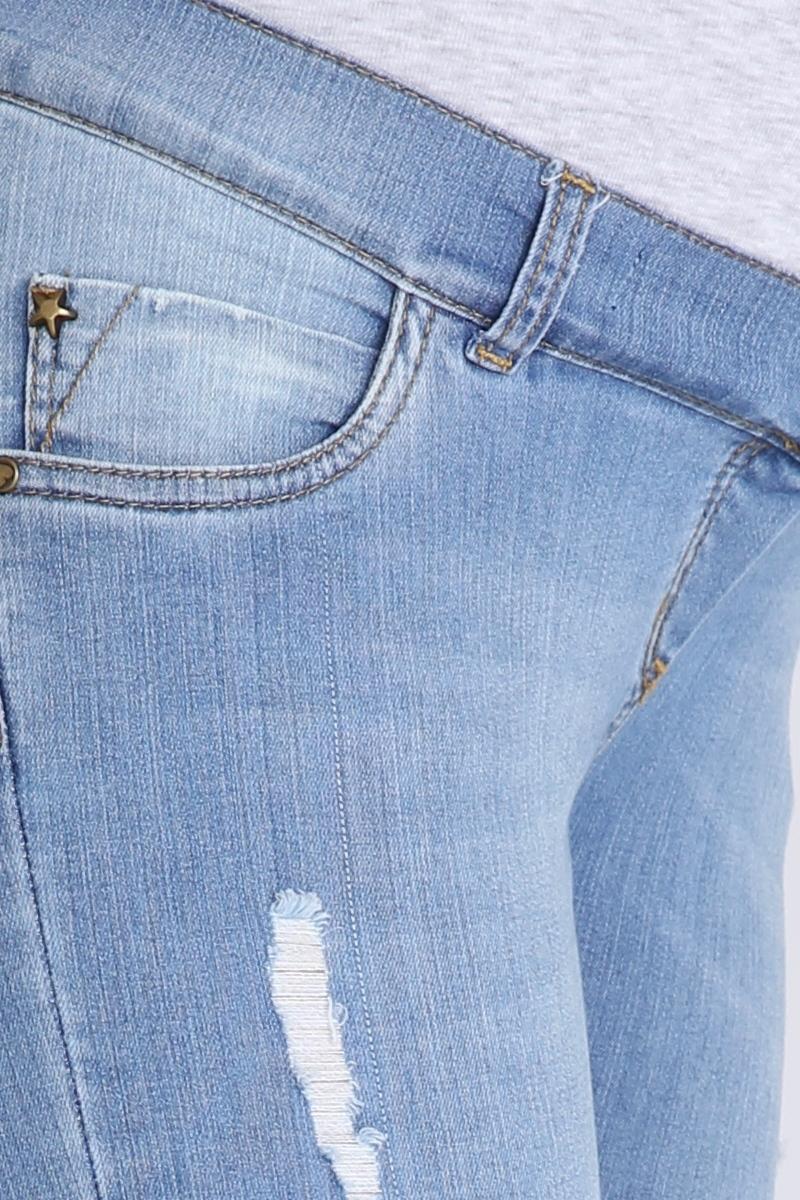 Фото джинсы для беременных MAMA`S FANTASY, зауженные, широкий бандаж, потертости от магазина СкороМама, синий, размеры.