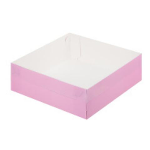 Коробка премиум с пластиковой крышкой, 20*20*7см (розовая матовая)