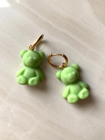 Серьги Тедди, зеленые