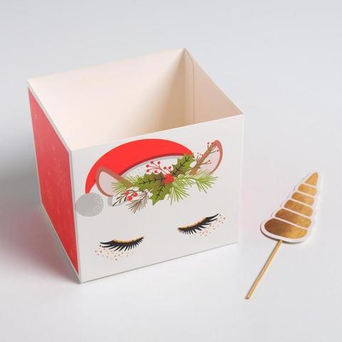 Коробка для цветов с топперами «Новогодний единорог», 10 х 10 х 12 см