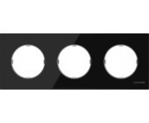 Рамка на 3 поста. Цвет Черное стекло. ABB(АББ). Skymoon(Скаймун). 2CLA867300A3101