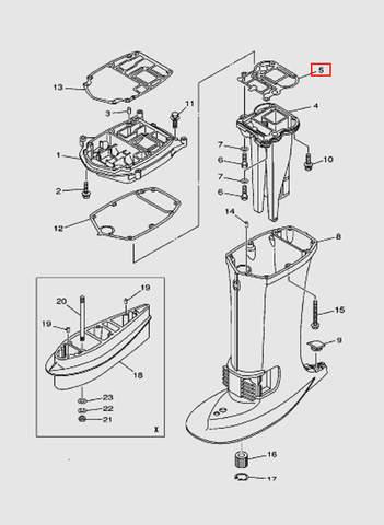 Прокладка выпуска для лодочного мотора T40 Sea-PRO (22-5)
