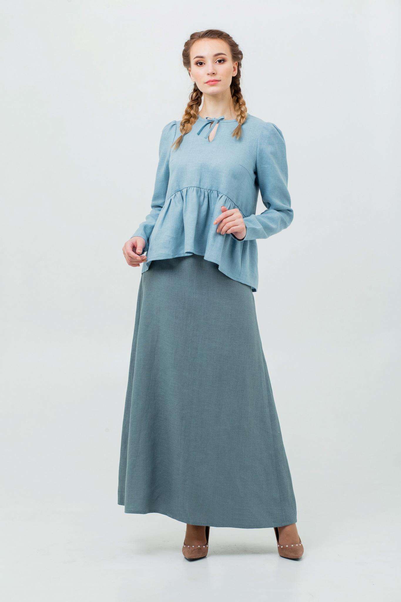 Льняная юбка Шалфей