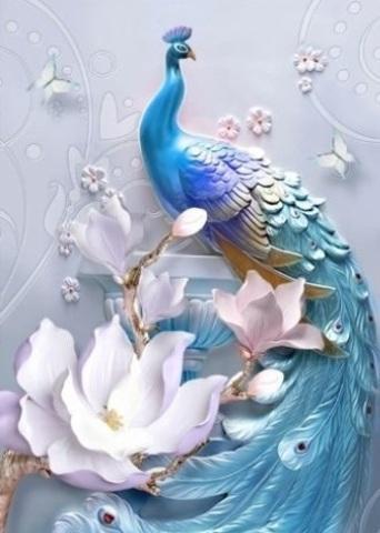 Алмазная Мозаика 5D 40x50 Павлин и белые цветы