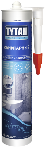 Герметик Tytan Euroline силиконовый санитарный белый 290мл/330г