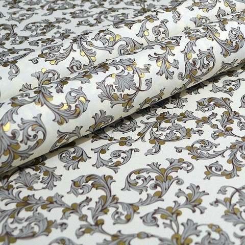 Бумага декоративная упаковочная Флорентийская серая с золото