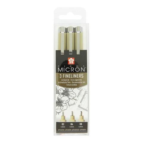 Линеры Pigma Micron черные 3 штуки (толщина линии 0.30, 0.40, 0.50 мм)