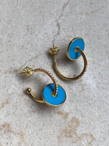 Серьги Пирс из позолоченного серебра, голубая эмаль