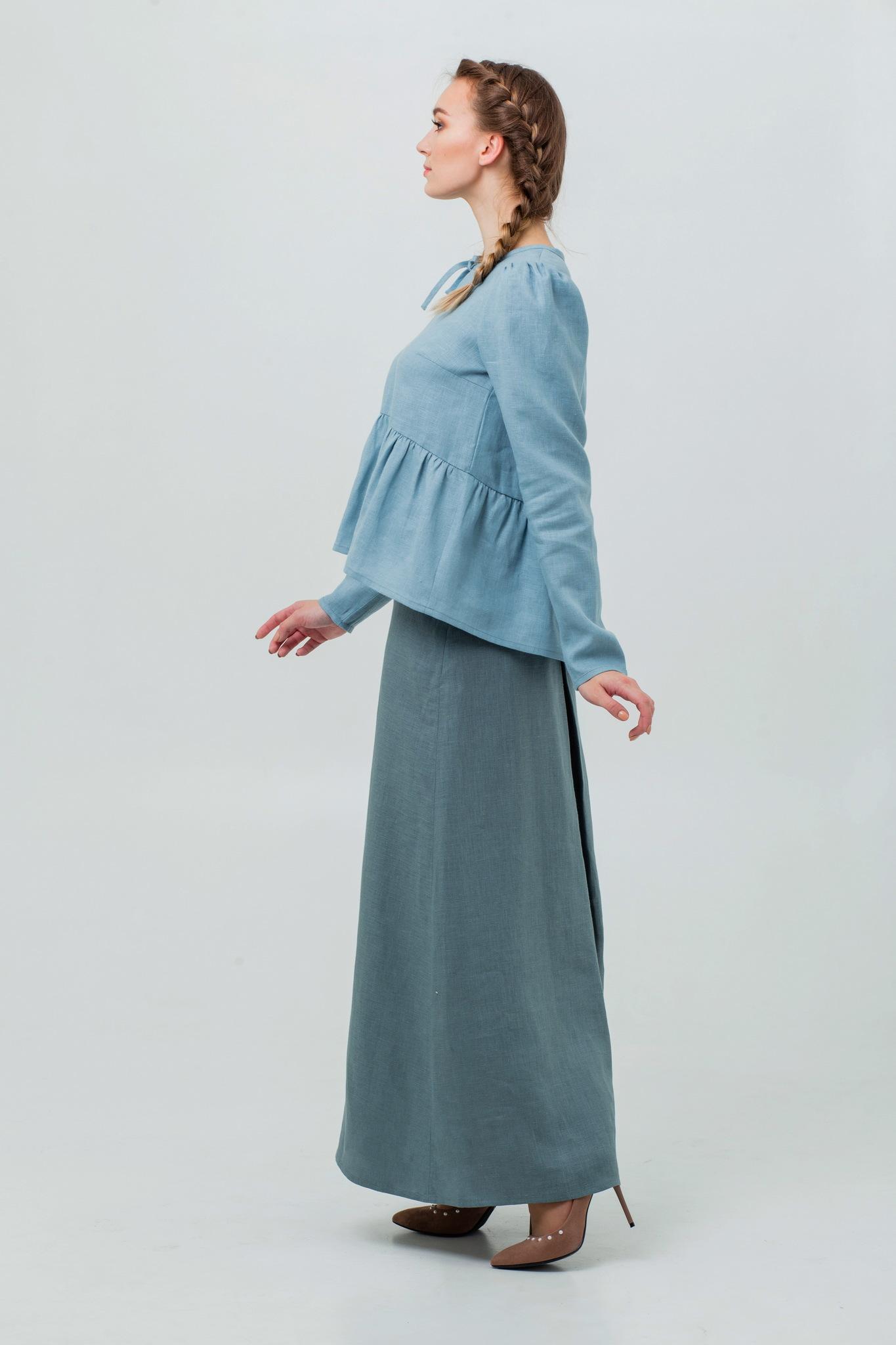 Льняная юбка в русском стиле Шалфей