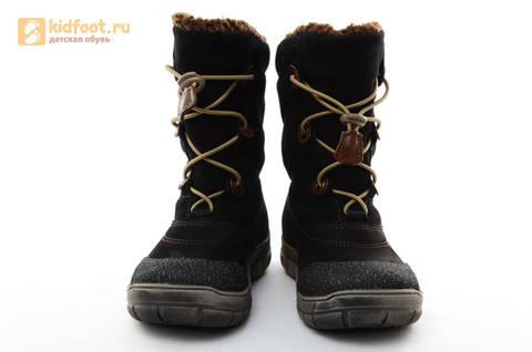 Зимние сапоги для мальчиков из натуральной кожи на меху Лель, цвет черный. Изображение 3 из 15.