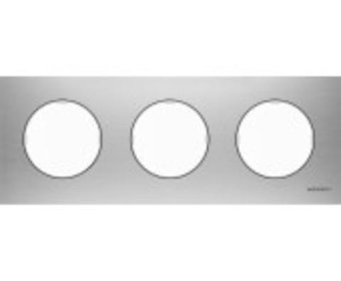 Рамка на 3 поста. Цвет Нержавеющая сатль. ABB(АББ). Skymoon(Скаймун). 2CLA867300A4001