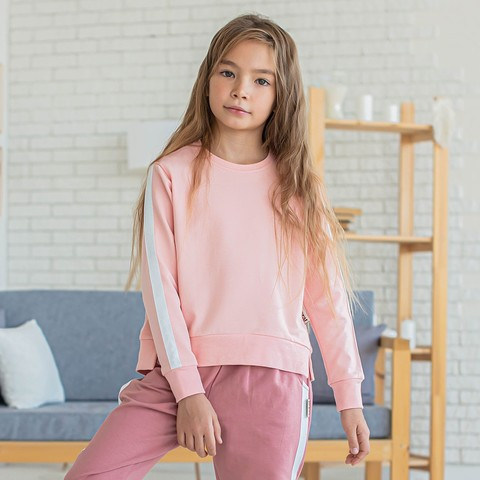 Sweatshirt with stripes for teens - Pink