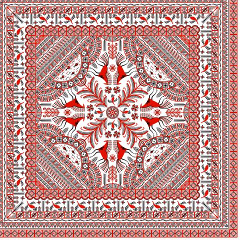 Квадратный орнамент. Мезенская роспись. Для платков, салфеток, полотенец, наволочек... (Дизайнер Irina Skaska)