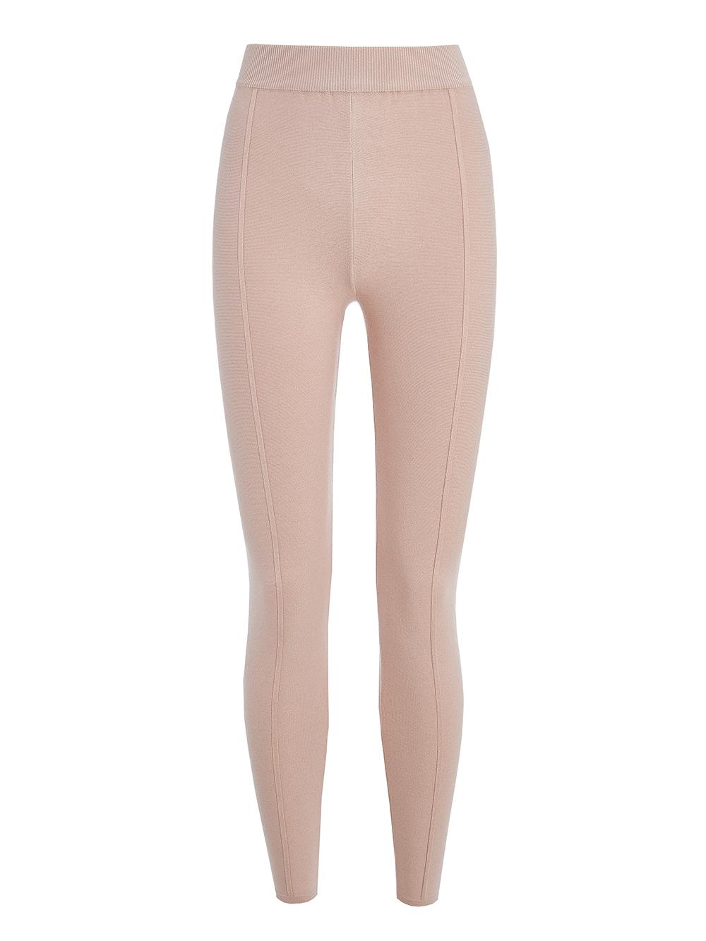 Женские брюки светло-розового цвета с рельефными полосками из вискозы - фото 1