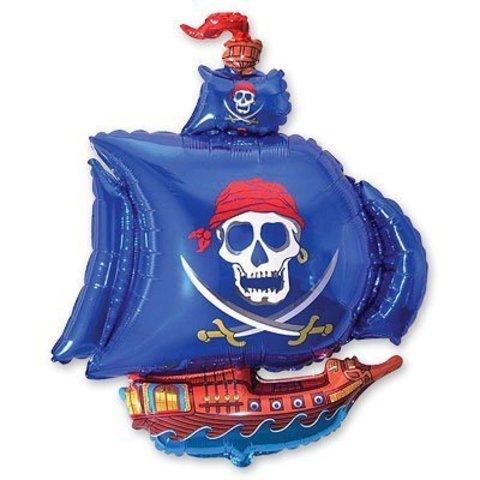 Шар фигура Корабль пиратский синий
