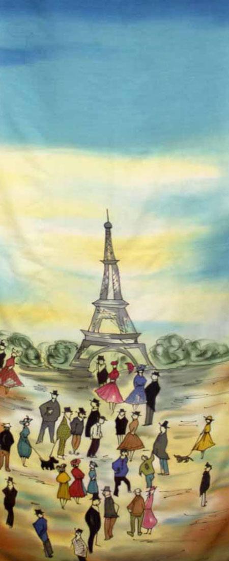 Шерстяной палантин батик В Париже С-51-ш